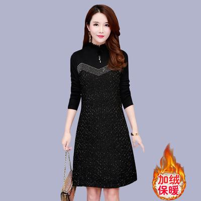 阔太太连衣裙女秋冬裙加绒加厚高贵夫人过膝大码蕾丝保暖打底衫
