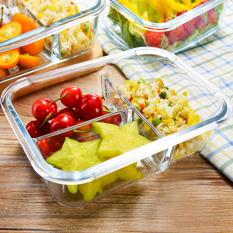 成人上班带饭的分格饭盒微波炉耐热玻璃保鲜碗分隔便当盒学生套装