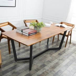 美式实木餐桌 铁艺现代家具办公会议桌长桌简约餐桌椅组合包邮