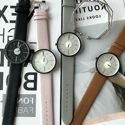 新款淘宝热卖独特秒盘设计个性学生手表 4色现货大表盘石英手表礼