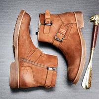 男靴冬季英伦高帮鞋复古拉链皮靴潮流真皮中筒短靴子厚底马丁靴