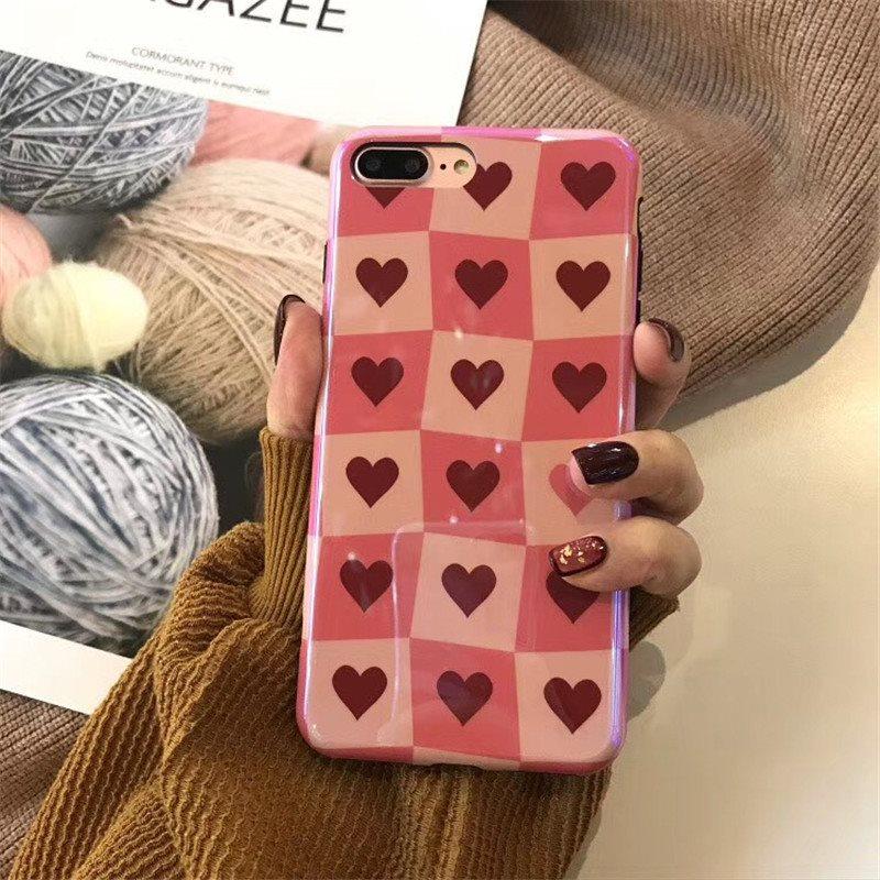 镭射蓝光格子爱心X苹果6手机壳iphone6s/7/8plus创意个性全包女款
