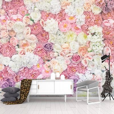 3D立体仿真花墙蔷薇玫瑰花壁纸网红工作室拍摄背景墙布少女心墙纸