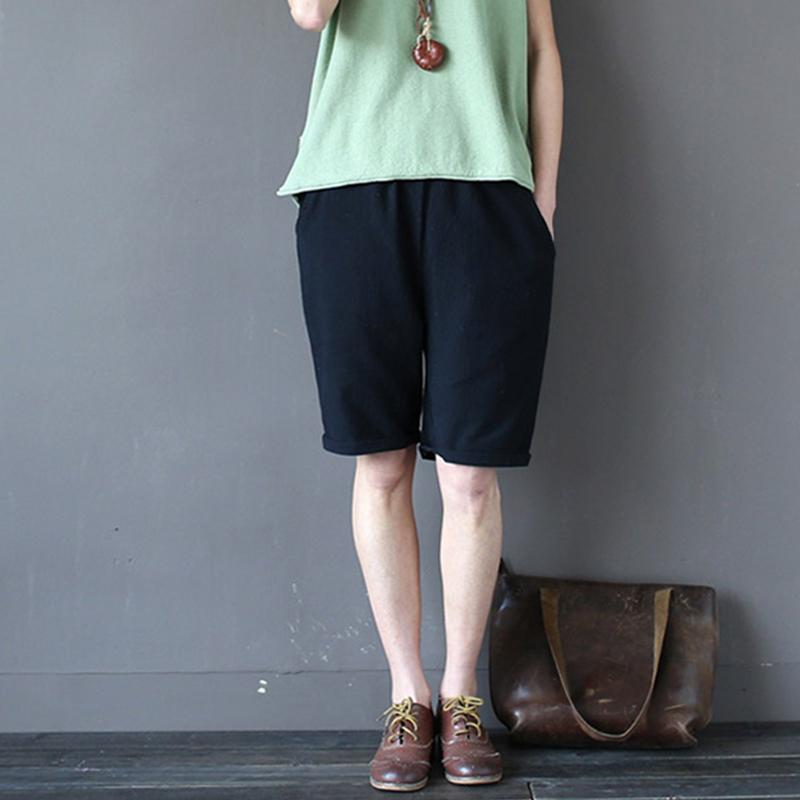 大码五分裤女夏胖mm棉麻中裤加肥加大码女装200斤夏短裤亚麻5分裤