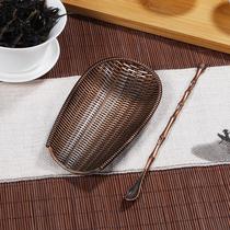 手工斑竹茶铲赏茶荷茶具六君子茶道零配件竹茶则碳化日式竹茶勺