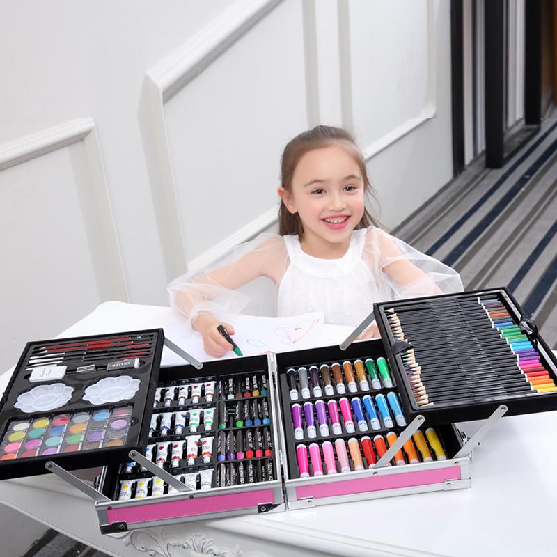 小学生画画学习文具礼盒美术绘画水彩笔生日礼物儿童玩具画笔套装