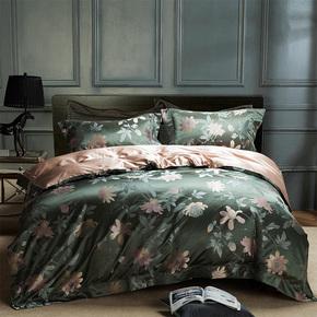 手工定制床上用品四件套,订做真丝提花布料1.8米双人床床品套件