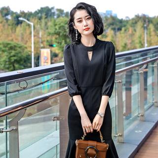 夏季新款韩版职业装女装连衣裙纯色中袖修身工作服气质通勤工装OL