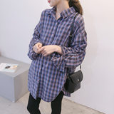 Pregnant women's Spring Fashion New shirt Loose Size Korean version of the medium-long Plaid mothers out breast-feeding shirt skirt