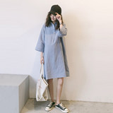 Pregnant dress autumn top medium long cotton linean shirt skirt 2019 out-of-the-box dress fashion shirt spring and autumn