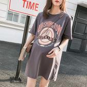 孕妇装春夏休闲时尚款T恤中长款纯棉宽松上衣卫衣大码孕妇连衣裙