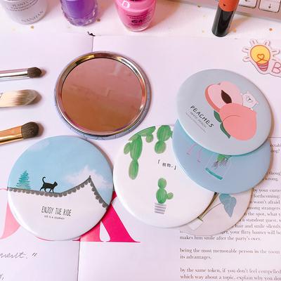 小镜子马口铁小清新韩国创意女士随身化妆镜学生迷你便携小镜子