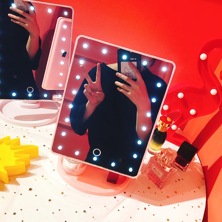 桌面少女LED台式触摸屏宿舍方形梳妆补光灯收纳带灯化妆镜子学生