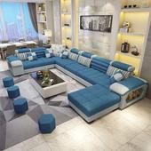 布艺沙发简约现代乳胶沙发客厅整装大户型转角三防布沙发组合家具