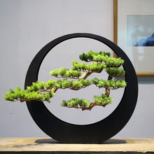New Chinese Lightweight and Luxury Artist's Residence Decoration Zen Decoration Welcome Songtieyi Bonsai Living Hall Point Club