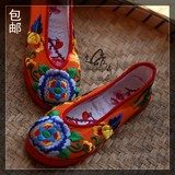 Original direct Chinese hand-stitched embroidered shoes women's shoes single shoes retro flower drum national wind thousand bottom
