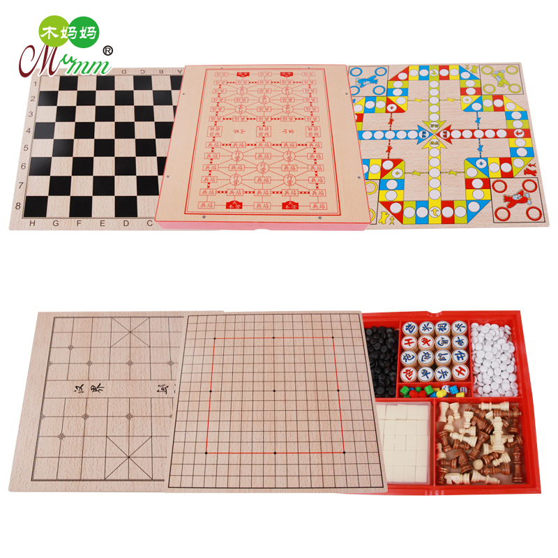 children's early education multi-function six-in-one chess board wooden toys chess flying chess
