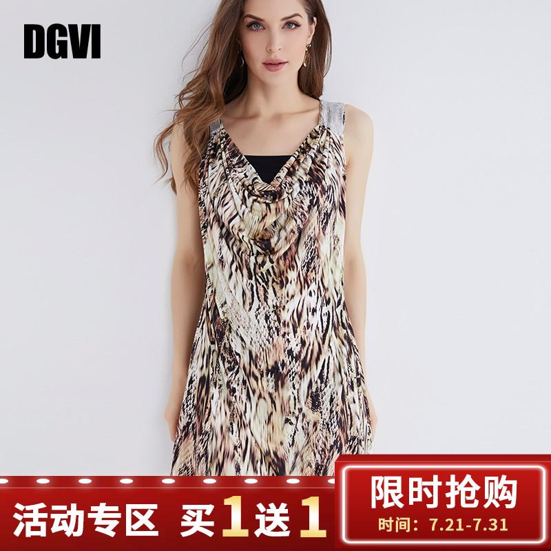 DGVI印花连衣裙2019夏季新款欧洲站烫钻撞色修腰堆堆领吊带裙子
