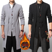 男士加绒加厚披风衣秋冬季中长款大衣刺绣外套中国风复古男装斗篷