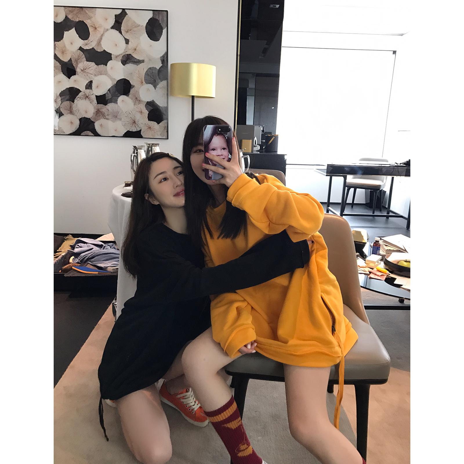 vcruan 卫衣女2019新款春中长款韩版套头圆领纯色宽松长袖上衣图片