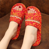 Wedding wedding festive red fabric bottom slippers wooden floor mute indoor soft bottom autumn and winter cotton four seasons machine washable
