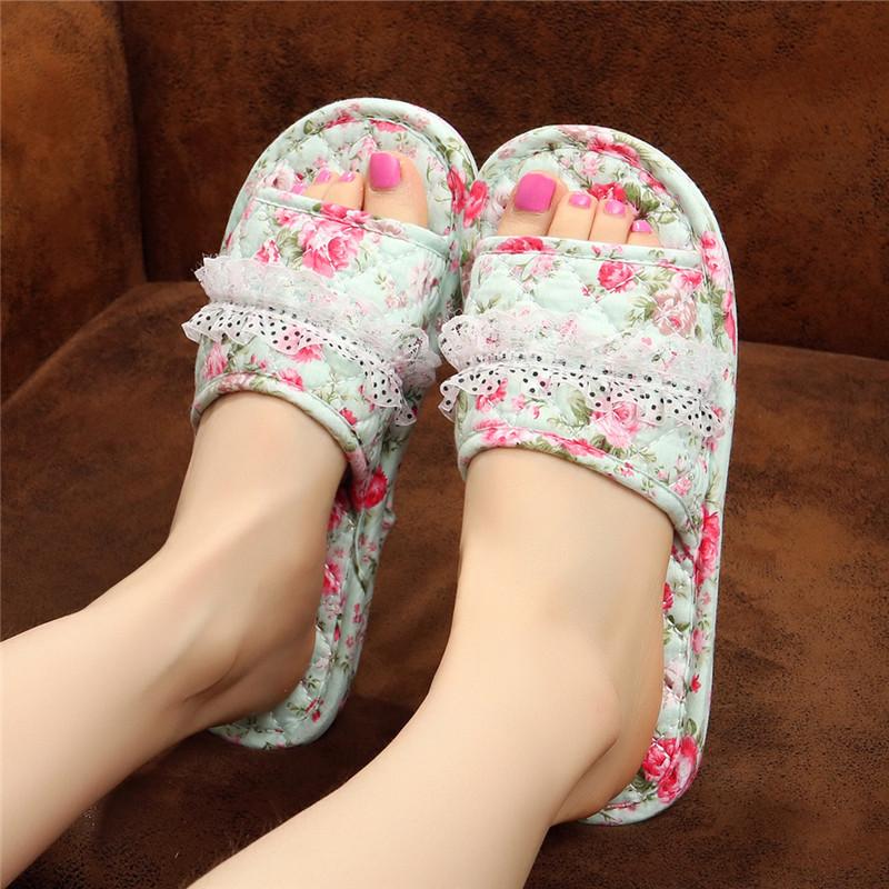 情侣春夏季居家室内无声静音纯棉布底软底不伤实木地板拖鞋布艺女图片