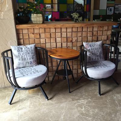 铁艺咖啡厅桌椅 休闲沙发创意个性懒人餐椅布艺 欧式奶茶店沙发椅