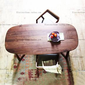 美国进口黑胡桃实木美式乡村简约北欧实木家具餐桌/椭圆餐桌