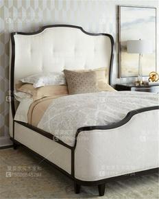 美式实木复古软包布艺床欧式简约拉扣新古典卧室一米八双人婚床