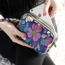 手拿包女手抓零钱包布艺韩版女士长款钱包大容量三层拉链手机包袋