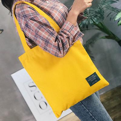 布袋包女chic帆布单肩拉链包女韩国简约百搭女单肩森系手提包