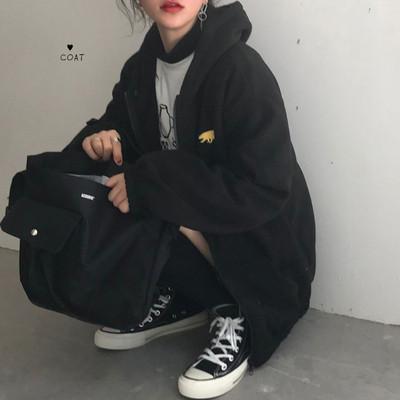 韩国ins同款港风卡通小熊刺绣怪味少女bf风百搭拉链保暖卫衣外套