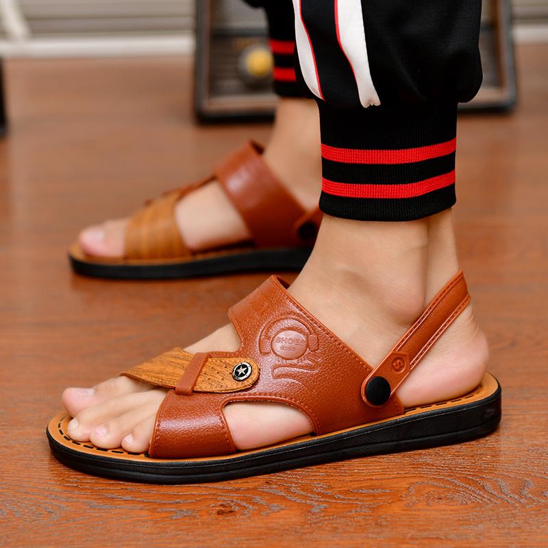 2019新款夏季男士凉鞋厚底沙滩鞋凉拖鞋潮防滑休闲鞋青年透气男鞋
