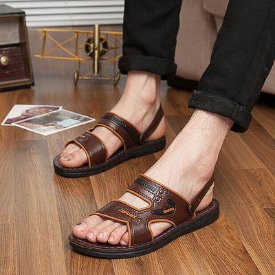 夏季男士塑料凉鞋平跟透气户外沙滩鞋休闲时尚镂空露趾两用凉拖鞋