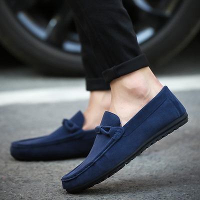 一脚蹬豆豆鞋磨砂皮圆头板鞋秋季男鞋英伦男士休闲鞋懒人鞋子潮鞋