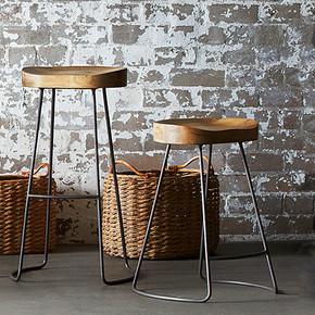 铁艺实木椅子个性高脚椅美式乡村loft吧椅吧台椅餐厅椅子高脚凳