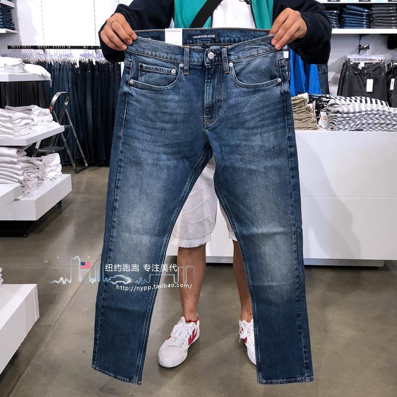 @纽约跑跑 美国Calvin Klein/CK 男裤修身潮流百搭浅色牛仔裤长裤,新款ck牛仔裤