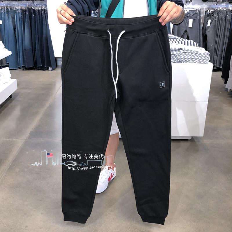 @纽约跑跑 美国Calvin Klein 男装卫裤纯色束脚小logo休闲裤