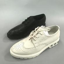 实拍秋季工厂直销新款牛皮单鞋英伦风系带低跟百搭耐磨防滑女单鞋