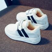 儿童白色运动鞋女童小白鞋男童白鞋学生加绒板鞋保暖棉鞋女童鞋冬