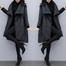 2018 new women's winter loose large size long down jacket female black was thin pu leather cloak coat thickening