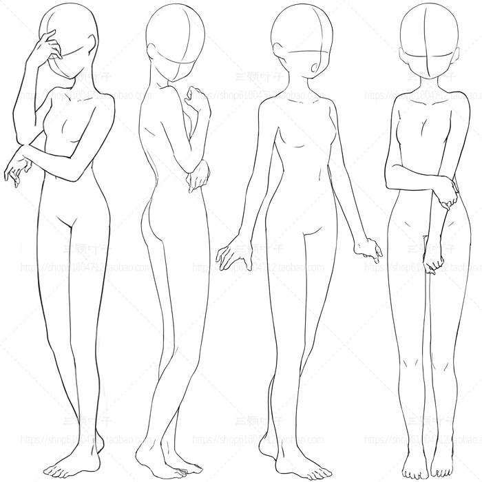 动漫线稿 少女可爱动作图集 人体动态 PSD免抠 矢量设计素材6196