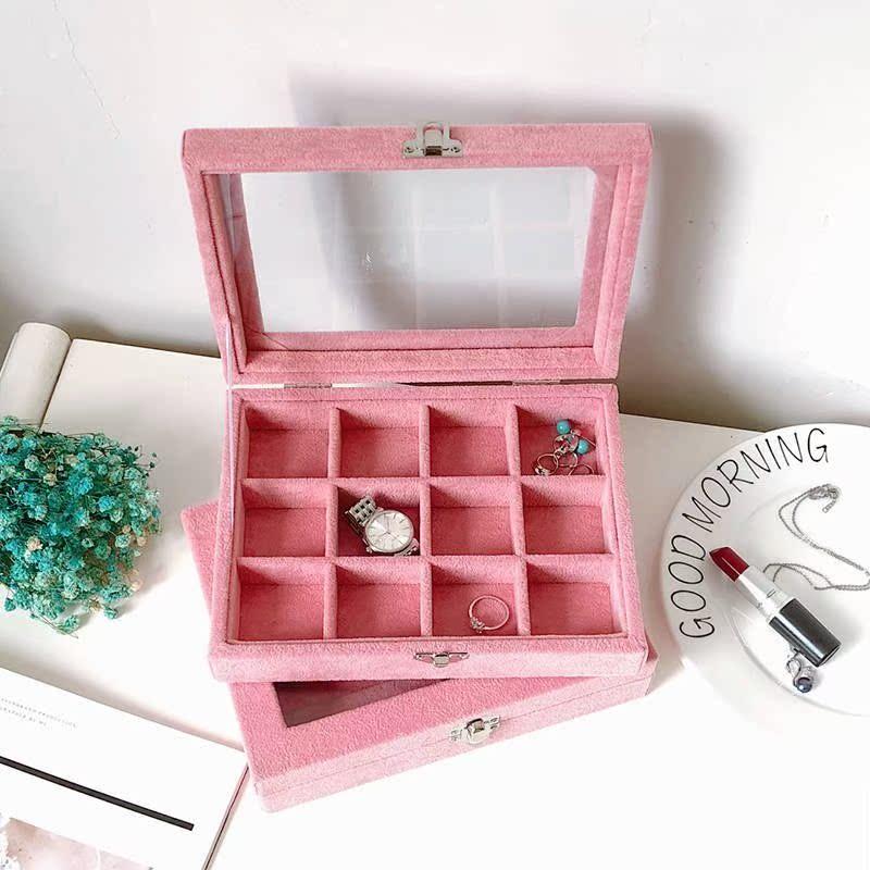 小号粉灰色首饰收纳盒简约公主透明耳环耳钉戒指项链饰品收纳盒