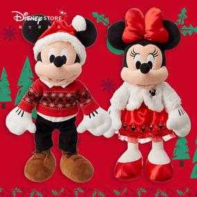 迪士尼商店 圣诞米奇米妮造型毛绒玩偶迪士尼卡通毛绒公仔