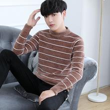 黑白圆领韩版 男士 男装 条纹毛衣宽松潮秋冬季2018新款 衣服保暖帅气