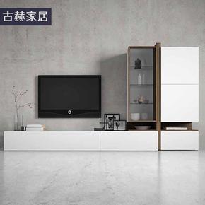 白色北欧现代简约客厅小户型实木茶几电视柜吊柜电视背景墙柜定制