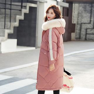 中长款加厚棉衣女2018冬季新款女装大毛领保暖羽绒棉棉服韩版外套