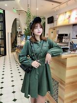 肉卷家大码连衣裙连帽系带收腰显瘦成熟气质ol风职业范中长款女装