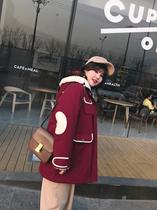 s肉卷家大码棉服羊羔毛撞色显瘦工装酒红外套2019春季新款女装