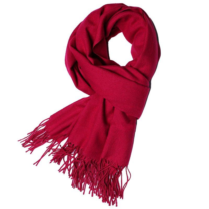 围巾流苏女秋冬纯色羊毛